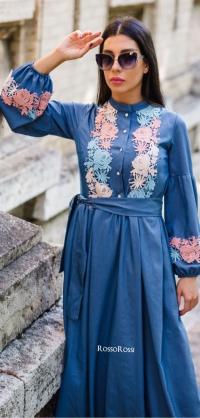 Платье джинса с итальянским кружевом