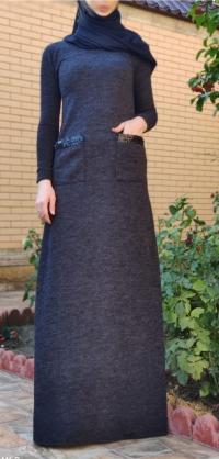 Платье ангора с карманами серое