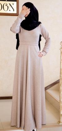 Платье теплое по косой беж