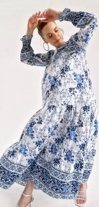 Платье Турция штапель синее