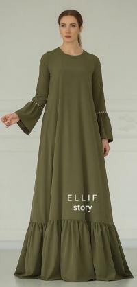 Платье с ярусом и жемчугом, хаки