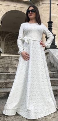 Платье с люрексом белое