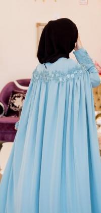 Платье-кейп голубое