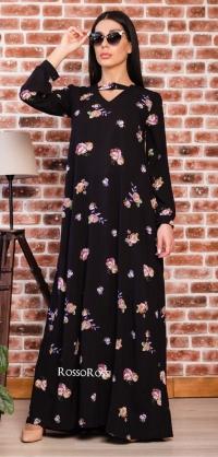 Платье с перепонкой цветы