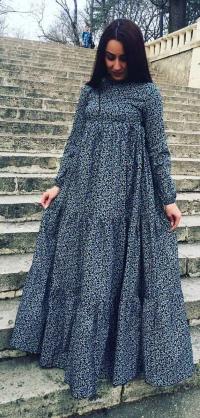 Платье хлопок темно-синее с цветами