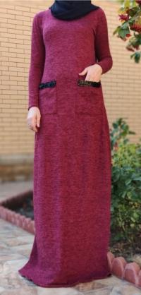 Платье ангора с карманами бордо