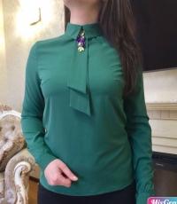 Блузка софт БИРЮЗА с галстуком