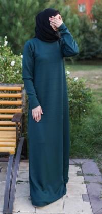 Платье базовое бирюза теплый трикотаж