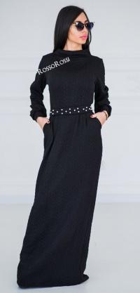 Платье вязка с жемчугом черное
