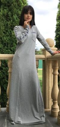 Платье стретч светло-серое
