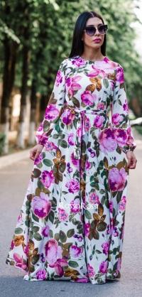 Платье шёлк с пионами