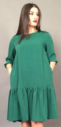 Короткое платье зеленое костюмка