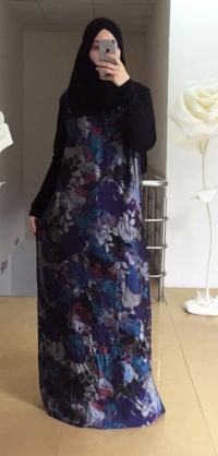 Платье дубайский шелк синее