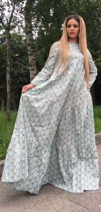 Платье хлопок голубой с цветочками
