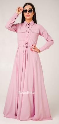Платье с кулиской софт розовое