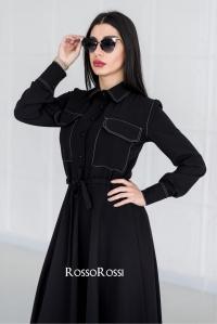 Платье с кулиской софт черное