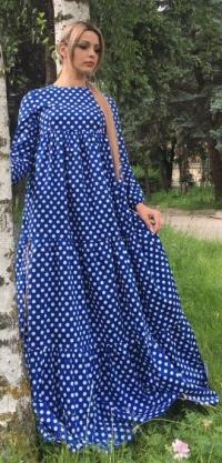 Платье хлопок горох синее