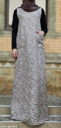Платье из твида синее
