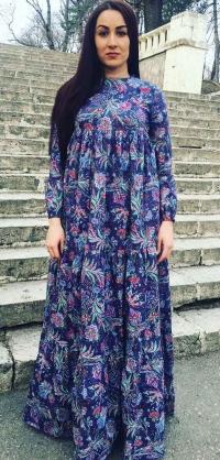 Платье хлопок синее с цветами