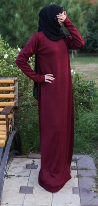 Платье базовое бордо теплый трикотаж