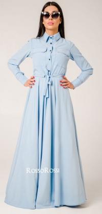 Платье с кулиской софт голубое