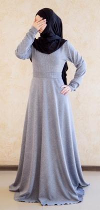 Платье теплое по косой голубое