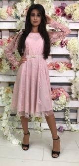 Платье гипюр розовое