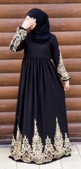 Платье штапель черное узоры