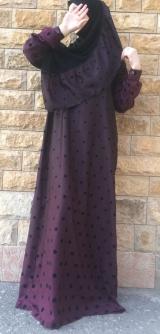 Платье абайное горох фиолет 40-58