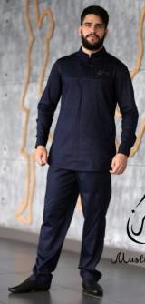 Мужской камис темно-синий костюм хлопок