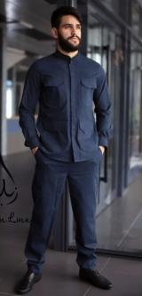 Мужской камис Темно-синий костюм ЛЁН