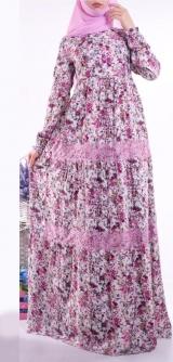 Платье Лотос розовое с кружевами
