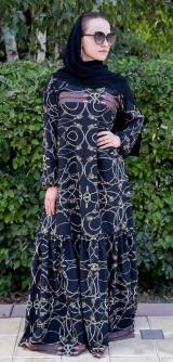 Платье ниагара синий узор