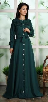 Платье-халат темно-зеленое