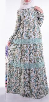 Платье Лотос бирюза с кружевами