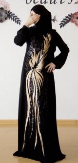 Платье с узором черное