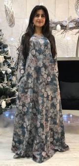 Платье теплый трикотаж с люрексом синее