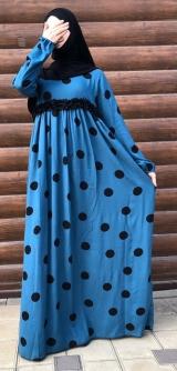 Платье штапель горох голубое