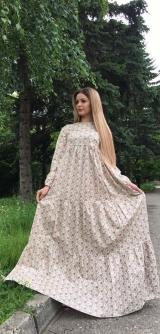 Платье хлопок БЕЖ с цветочками