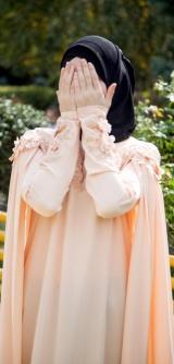 Платье-кейп персик