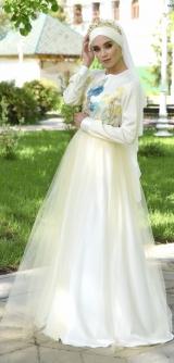 Платье голубая роза -айвори