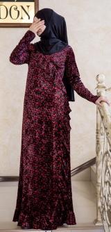 Платье с запахом велюр бордо