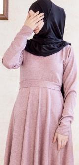 Платье теплое по косой розовое