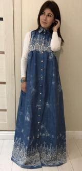 Джинсовый сарафан с вышивкой