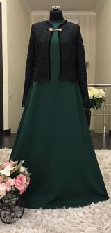Платье с жилетом зеленое
