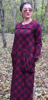 Платье клетка бордо