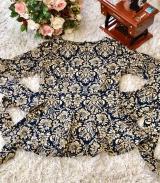 Блузка трикотаж с баской синяя