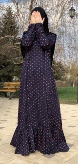 Платье хлопок - горох с воланом