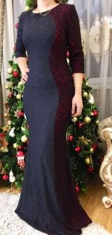 Платье выбитый трикотаж черный/красный