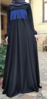 Платье абайное черное с тесьмой.